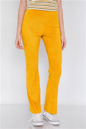Mustard Suede Corduroy Vintage High-Waist Flare Pant
