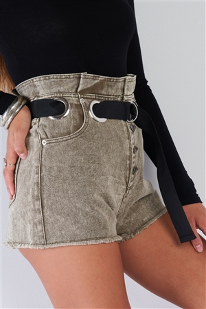 High Waisted Olive Washed Denim Shorts With Black D-Ring Belt Frayed Hem