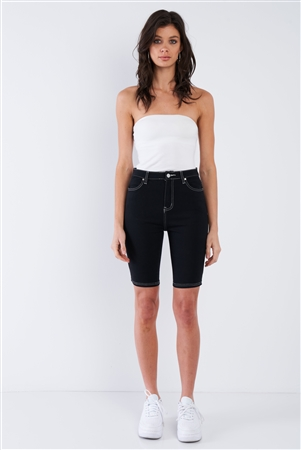 Black & White Contrast Stitch Jean Bermuda Denim Shorts