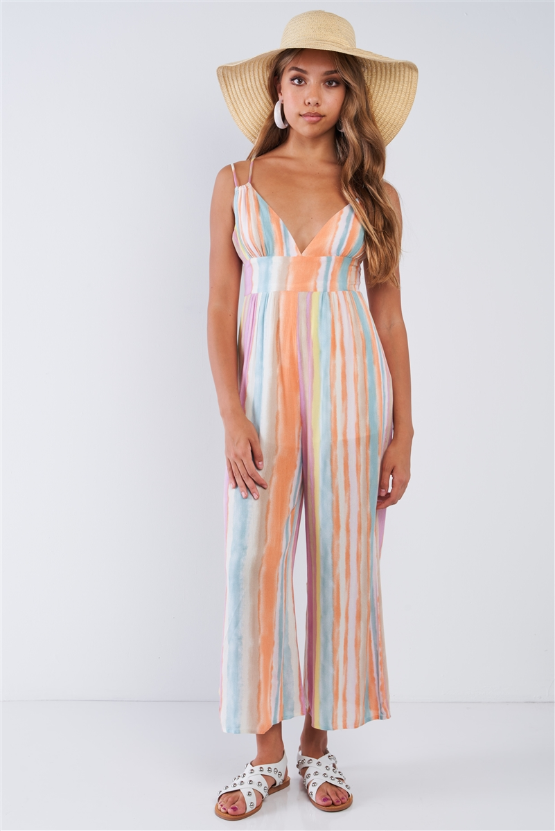 Multi-colored Striped Cami Strapped Wide Leg Jumpsuit