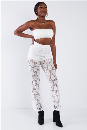 Off-White Floral Lace Bandeau & Flare High Waist Boho Pant Set