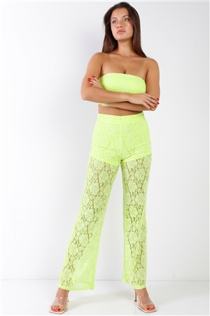 Yellow Floral Lace Bandeau & Flare High Waist Boho Pant Set