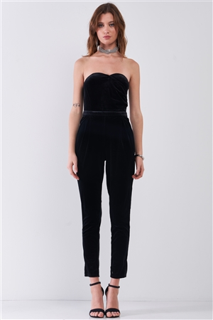 Black Velvet Strapless Sweetheart Neck Wrap Skinny Jumpsuit /1-2-2-1