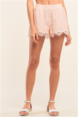 Blush Crochet Boho High Waist Lined Mini Shorts With Two Front Pockets /1-2-2-1