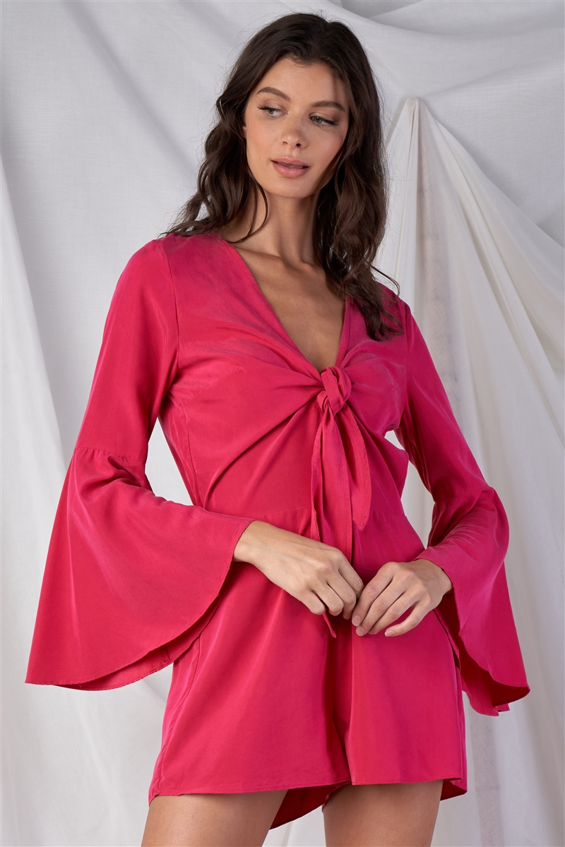 Raspberry Pink Relaxed Fit Front Knot Tie Up V-Neck Bluebell Midi Sleeve Romper /1-2-2-1