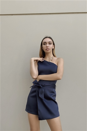 Navy Satin One Shoulder Self-Tie Wrap Skort Romper