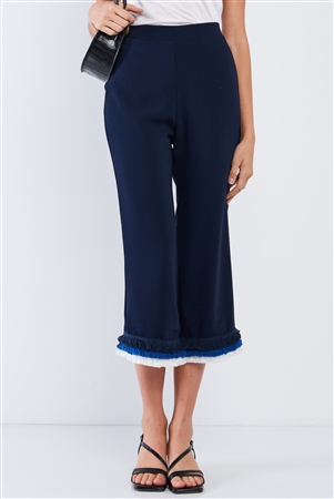 Deep Blue High Waist Layered Multicolor Shredded Hem Wide Leg Capri Pants With Front Pockets /1-2-2-1