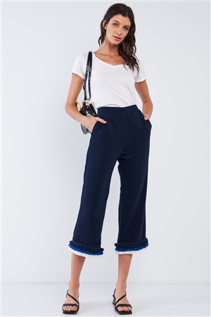 Deep Blue High Waist Layered Multicolor Shredded Hem Wide Leg Capri Pants With Front Pockets /2-2-2