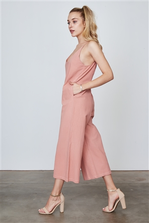 Boho Dust Coral Sleeveless Wide Leg Loose Jumpsuit