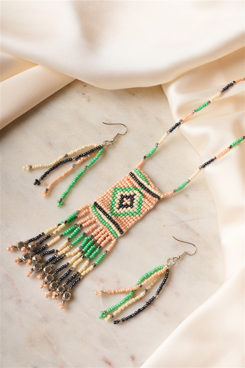 Multi Color Tribal Inspired Beaded Ear Rings & Necklace Set