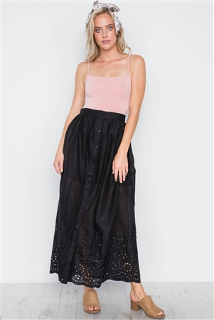 Black Floral Embroidery Maxi Boho Skirt