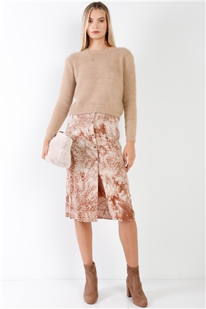 Coffee Cream Tie Dye High Waisted Front Button Down Midi Skirt /3-2-1