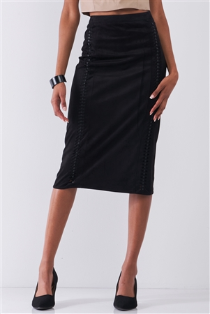 Black Suede High-Waist Side Trim Detail Pencil Fit Midi Skirt /1-2-2-1
