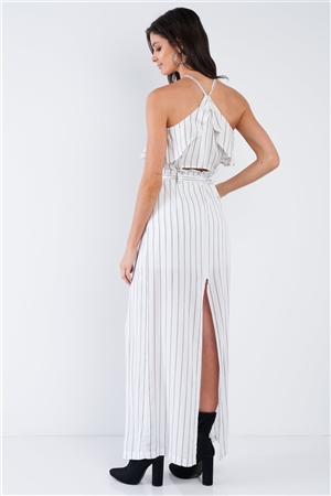 White & Grey Stripe Halter Crop Top and High Waist Frill Mock Maxi Skirt Skort Set