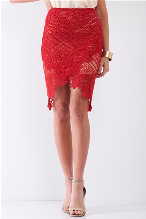 Red Crochet Embroidered High Waist Asymmetrical Midi Skirt With Golden Lining /1-2-2-1