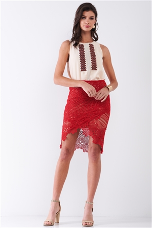 Red Crochet Embroidered High Waist Asymmetrical Midi Skirt With Golden Lining /3-2-1