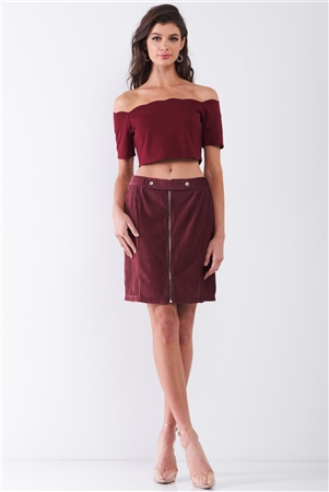 Plum Velvet Ribbed High Waist Front Zip-Up Detail Tight Mini Skirt /1-2-2-1