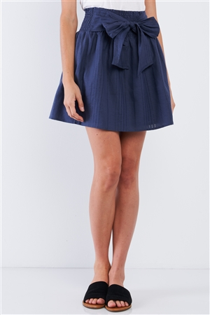 Navy Blue Linen Striped Pleated Smock High Waist Self-Tie Detail Mini Skirt /1-2-2-1