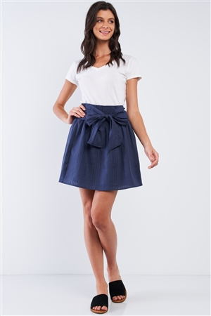 Navy Blue Linen Striped Pleated Smock High Waist Self-Tie Detail Mini Skirt /3-3-1