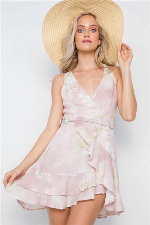 Pink Tropical Floral Print Sleeveless V-Neck Mini Dress