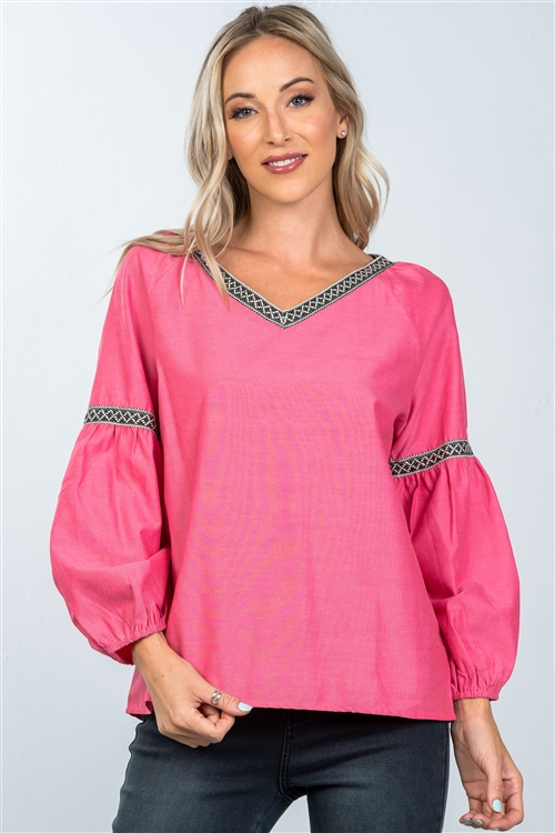 Boho Tomato Red Drop Shoulder Embroidery Blouse