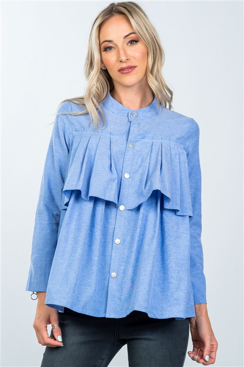 Denim Blue  Layer Pleated Button Down Top