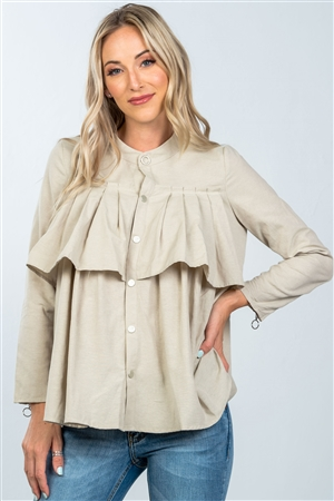Taupe Layer Pleated Button Down Top