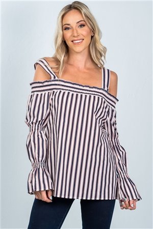 06936fb291220 Quick View this Product Navy Boho Stripe Cold Shoulder Top