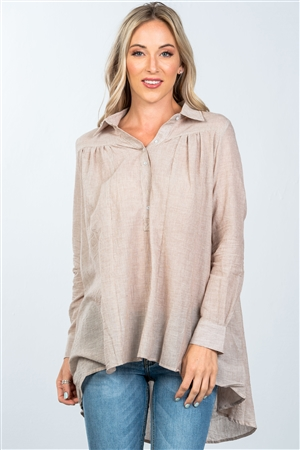 Brown Front Button Up Loose Blouse