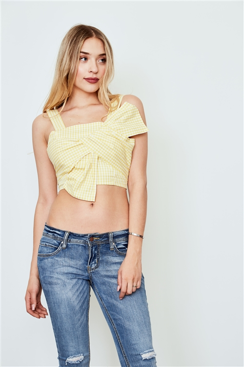 Yellow Sleeveless Bow Front Crop Cami Top