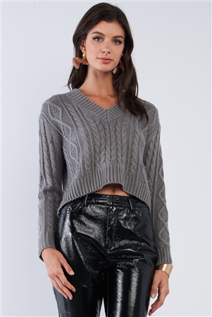Grey Long Sleeve V-Neck Knit Self-Tie Open Back Cropped Sweater