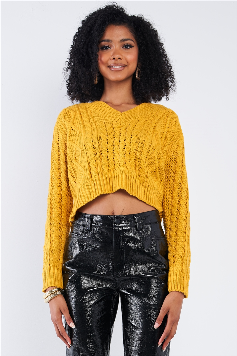 Mustard Long Sleeve V-Neck Knit Self-Tie Open Back Cropped Sweater