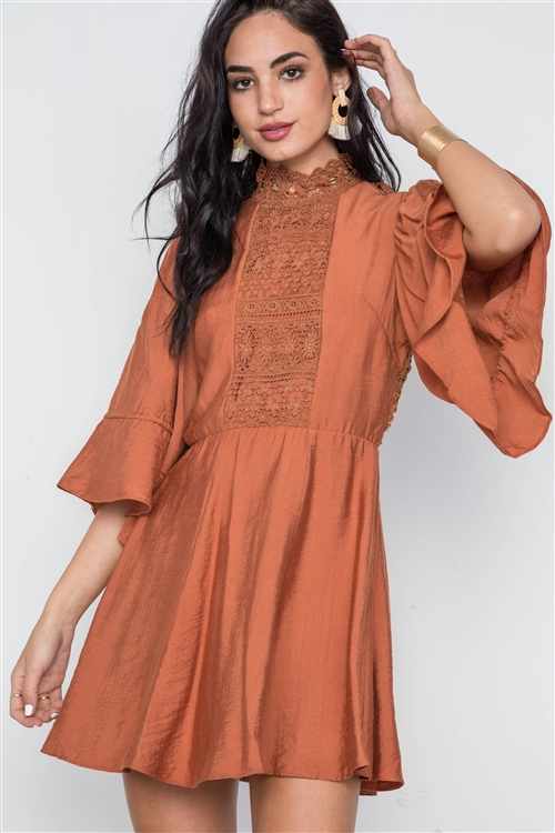 Rust Bell Sleeve Crochet Mock-Neck Mini Dress