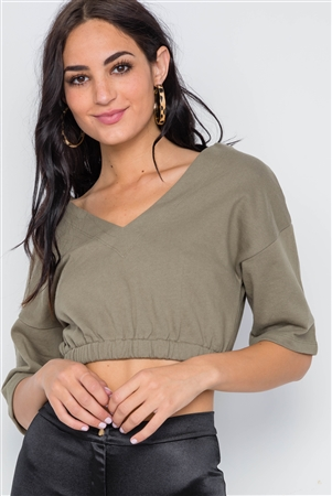Olive 3/4 Sleeve V-Neck Knit Crop Top