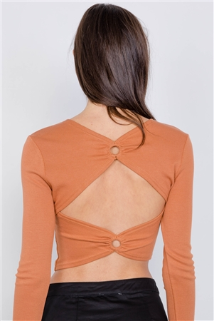 Sand Cotton Open Back Cut Out Long Sleeve Crop Top