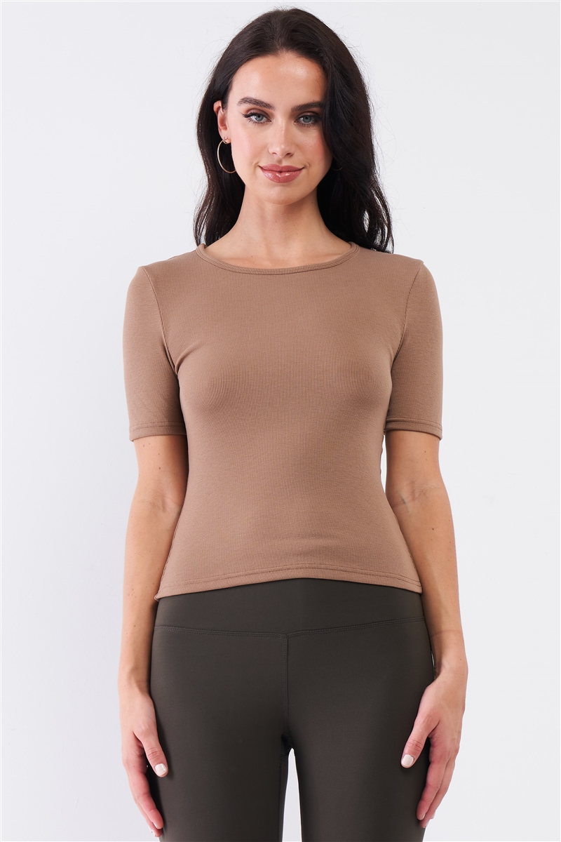 Mocha Light Ribbed Crew Neck Short Sleeve Basic Tee /3-2-1