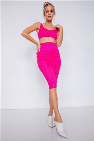 Fuchsia Ribbed Square Neck Crop Top & Mini Bodycon Skirt Set
