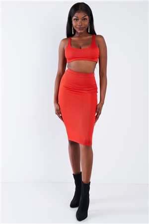 Orange Ribbed Square Neck Crop Top & Mini Bodycon Skirt Set