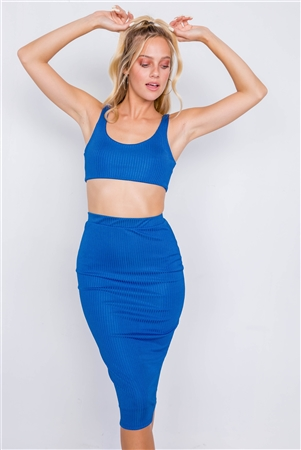 Royal Blue Ribbed Square Neck Crop Top & Mini Bodycon Skirt Set