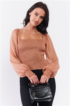 Caramel Drizzle Heart Polka Dot Print Mesh Balloon Sleeve Frill Square Neck Smock Top /3-2-1