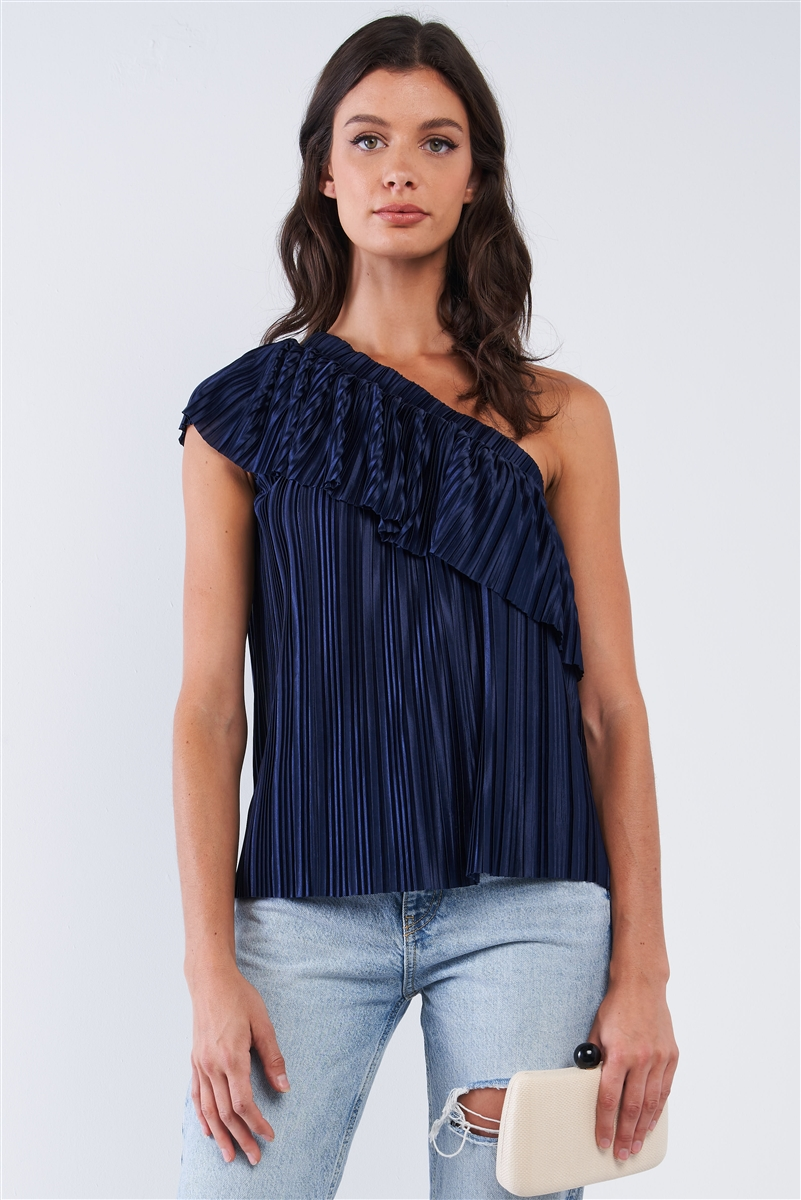 Solid Navy Blue Satin Crinkle Asymmetric Off-One-Shoulder Ruffle Detail Top /1-2-2-1