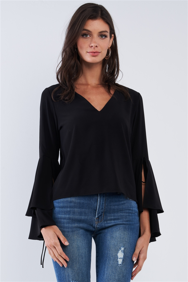 Jet Black V-Neck Long Bluebell Slit Draw String Tie Double Frill Sleeve Top /3-3