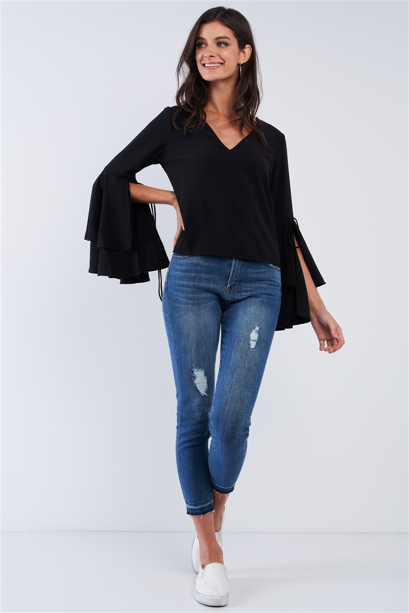 Jet Black V-Neck Long Bluebell Slit Draw String Tie Double Frill Sleeve Top /2-2-1-1