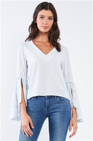 Light Blue V-Neck Long Bluebell Slit Draw String Tie Double Frill Sleeve Top