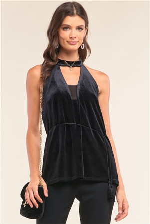 Black Velvet Sleeveless Halter Neck Mesh Detail Tassel Tip Support String Tie Open Back Top /1-2-2