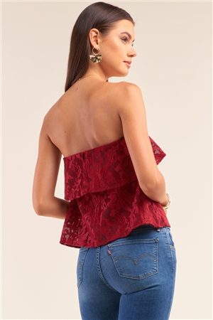 Wine Floral Lace Strapless Front Ruffle Crop Top