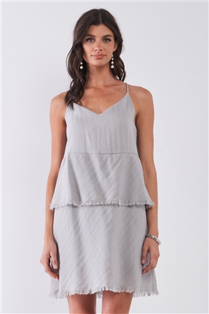 Light-Grey Sleeveless V-Neck Layered Raw Hem Mini Dress /1-2-2-1