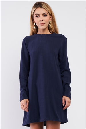 Plain Eco Navy Blue Linen Shredded Hem Detail Round Neck Relaxed Fit Long Sleeve Mini Dress /1-2-1-1