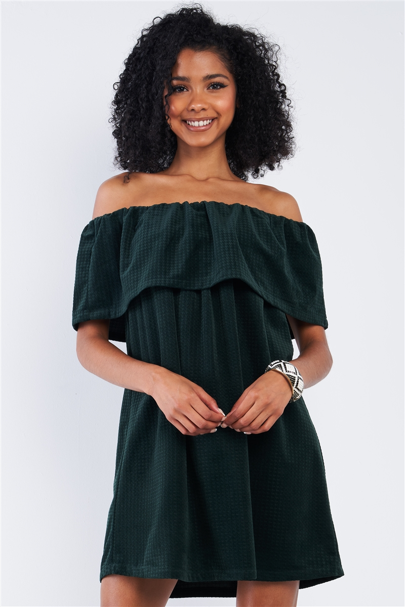 Forest Green Hounds Tooth Print Off the Shoulder Mini Dress
