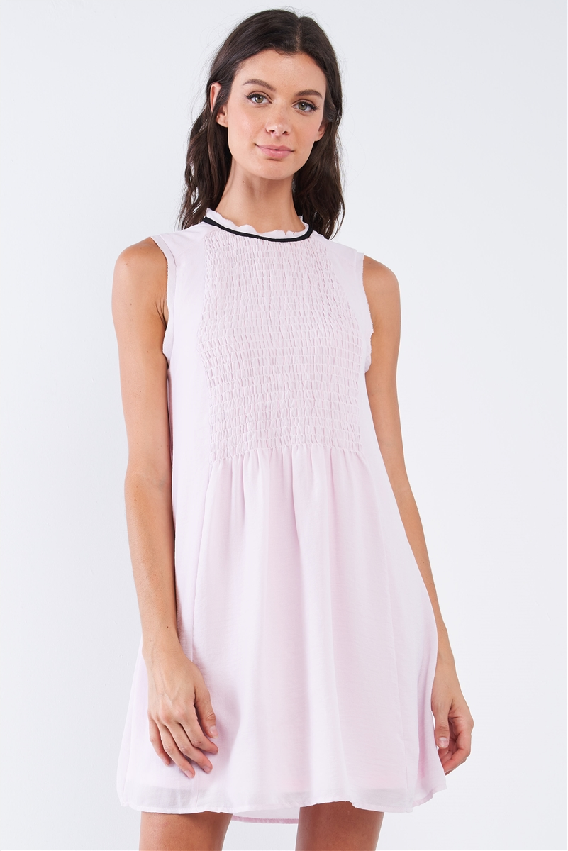 Baby Pink Sleeveless Round Neck Loose Fitting Smock Front Detail BabyDoll Mini Dress /1-2-2-1